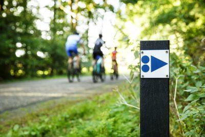 mountainbike bewegwijzering blauw